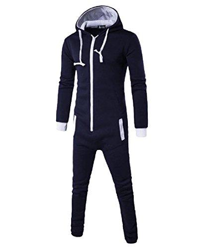 DressUMen Hit del suéter del color de mulit de la capilla vestido de color cuerpo suit para Hombres azul marino Grande
