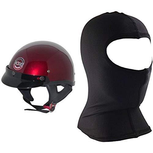 Core Cruiser Shorty Half Helmet (Wine, X-Large) and Core Nylon Balaclava (Black, One Size) Bundle