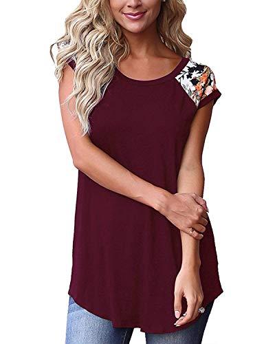 Damen T-Shirt Top Sommer Oberteile Basic Shirt Kurzarm Tee Bluse Frauen Elegant Baumwoll Freizeit, Wein, XXL