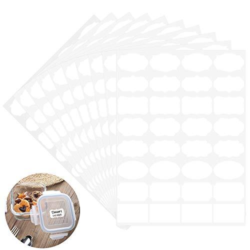 Wisdompro Afneembare Etiketten, Blank Wit Fancy Vorm Vriezer Etiketten, Voedsel Opslag Stickers voor Containers, Potten, Flessen - 10 Vellen (320 St)