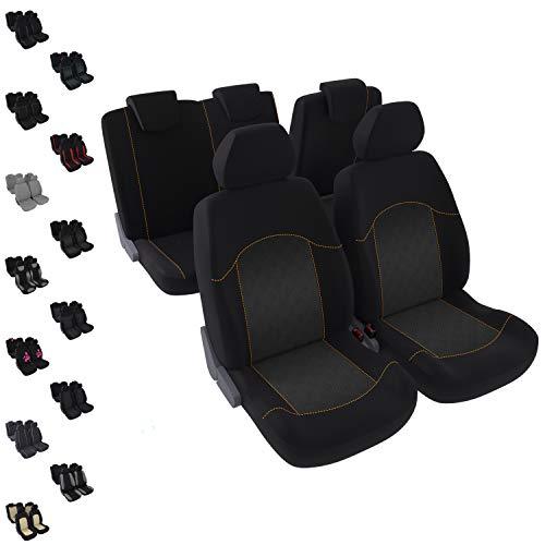 DBS - Housses de sièges - Voiture/Auto - 5 sièges - Orange - Avant/Arrière - Universelles - Anti-dérapant - Lavable
