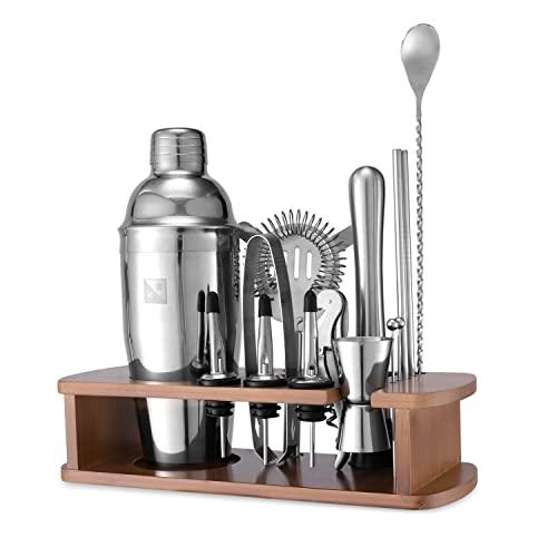 KITESSENSU Cocktail Shaker Set Bartender Kit with Stand   Bar Kit Drink Mixer Set for Drink Mixing - Bar Tools: Martini Shaker, Jigger, Strainer, Mixer Spoon, Muddler, Liquor Pourers, More   Silver