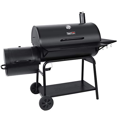 Royal Gourmet CC2036F Charcoal Barrel Grill with Offset Smoker, 1188 Square Inches for Large Event Gathering, Outdoor Camping, Picnics, Patio and Backyard Cooking, Black
