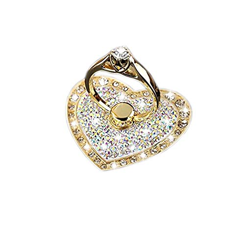 Universal Phone Ring Stand Holder UCLL Romantic Heart Crystal Finger Grip 360 Degree Rotating Ring Grip Cell Phone and Tablets Anti Drop Ring for iPhone iPad Samsung LG Huawei Sony (Gold-White)