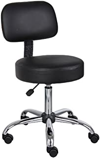 Boss Office Products Be Well Medical Spa Stool with Back in Black
