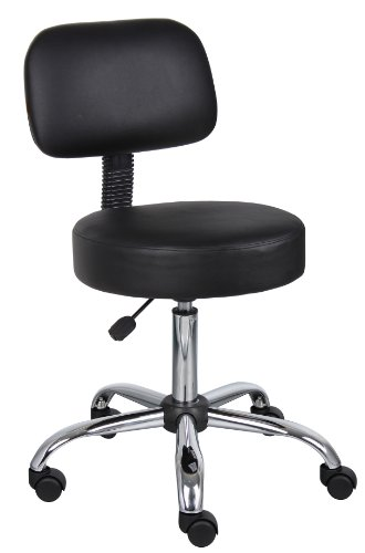 Boss Office Products B245-BK Work Stool with Back in Black