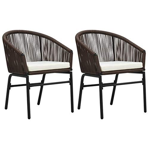 Festnight Tuinstoelen Eetkamerstoel fauteuil Receptie Gaststoel voor thuis kantoor woonkamer slaapkamer eetkamer woonkamer keuken balkon 2 st PVC-rattan bruin