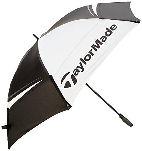 TaylorMade TP Tour Double Canopy Paraguas de Golf, Unisex Adulto, Negro Blanco Gris, 68