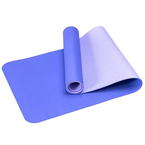 RIsxfh122 Esterilla de yoga antideslizante de TPE de 6 mm espesar en casa gimnasio fitness entrenamiento ejercicio fitness Mat cojín alfombra oscuro púrpura