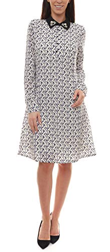 Guido Maria Kretschmer Blusenkragen-Kleid leicht tailliertes Damen Kleid mit Vogel-Print Party-Kleid Freizeit-Kleid Weiß, Größe:36