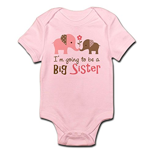 CafePress Big Sister to Be Mod Elephant Infant Bodysuit Cute Infant Bodysuit Baby Romper Petal Pink