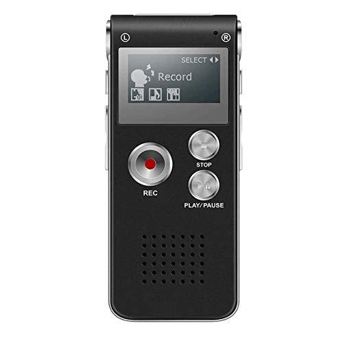 BIGFOX Grabadora de Voz Digital Portátil, Reproductor MP3 Sonido Claro DSP Reducción de Ruido, Recargable USB de 8GB, VOR Activada por Voz