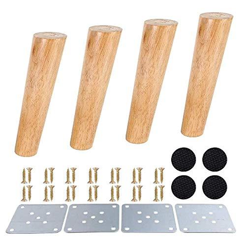 Pata de sofá de madera maciza 4X / pata de mesa/pata de mueble de madera, registro sólido, puede soportar 500 kg (18CM, Color de madera)