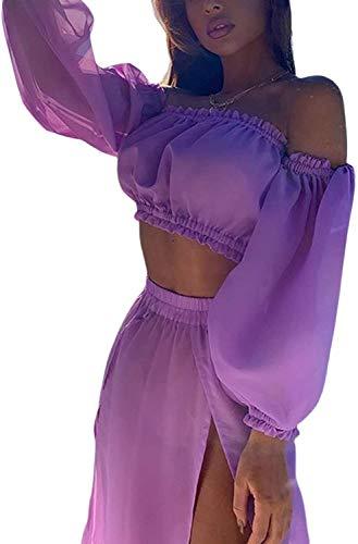Vestido de Playa 2 Piezas Traje de Baño para Mujer Cubierta de Bikini Crop Top Camiseta Corta de Manga Larga Falda Larga con Aberturas Pareo Cover Up Verano de Encaje para Viaje Vacaciones, Morado