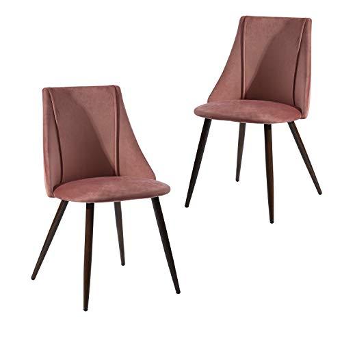 FurnitureR Juego de 2 sillas de comedor de cocina, ensamble los 2 en 5 minutos, sillas laterales acolchadas de tela de terciopelo con patas de metal resistentes para la sala de...
