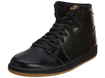 Nike Men's Air Jordan 1 Retro High OG Basketball Shoe Black/Black Gum Light Brown Basketball Shoe 9.5 Men US