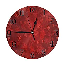 Wall Clock Large Christmas Snowflakes Red Non Ticking Kitchen Living Room Bathroom Outdoor Wall Clocks Battery Operated Modern Bedroom Cute Round Cool Office Decor Kids Women