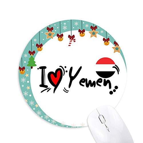 Preisvergleich Produktbild I Love Yemen Word Flag Love Heart Illustration Maus Pad Jingling Bell Round Rubber Mat