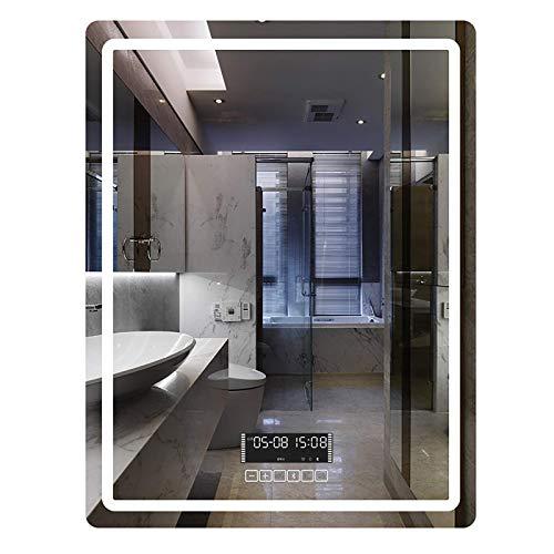 ZCZZ Espejo de baño iluminado con interruptor táctil, 3 colores de luz y brillo ajustable, LED retroiluminado sin marco, IP65
