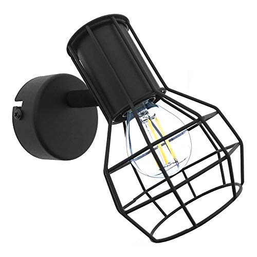 BarcelonaLED Aplique de Pared o Techo Vintage con Pantalla de Jaula Orientable Diseño Nórdico Industrial Color Negro para Bombillas Casquillo E14