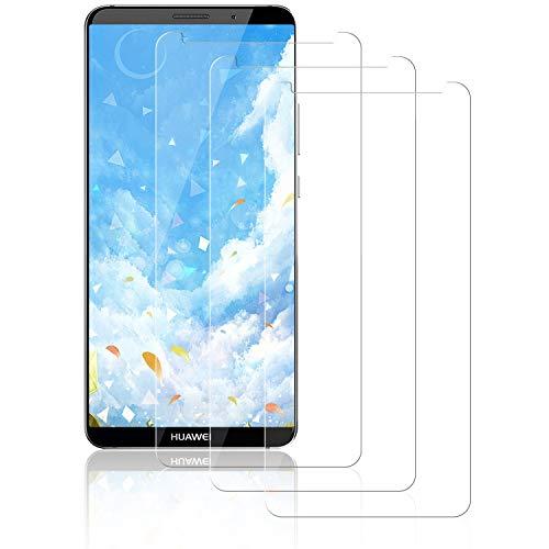 NASFUEY [3 Piezas Cristal Templado para Huawei Mate 10 Pro, [9H Dureza] [Antihuellas Dactilares] [Sin Burbujas], Alta Sensibilidad y Definición,Protector de Pantalla para Huawei Mate 10 Pro