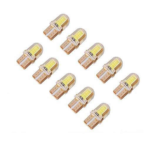 JXHD 10pcs Ambre T10 Silicon COB Lumière LED W5W Wedge Bulb Intérieur 194 168 2825 Blanc