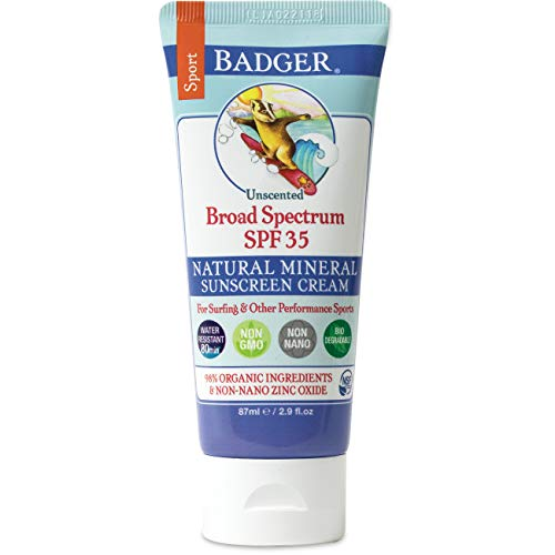 Badger Company, Sport Sunscreen, Broad Spectrum SPF 35, Unscented, 2.9 fl oz (87 ml)