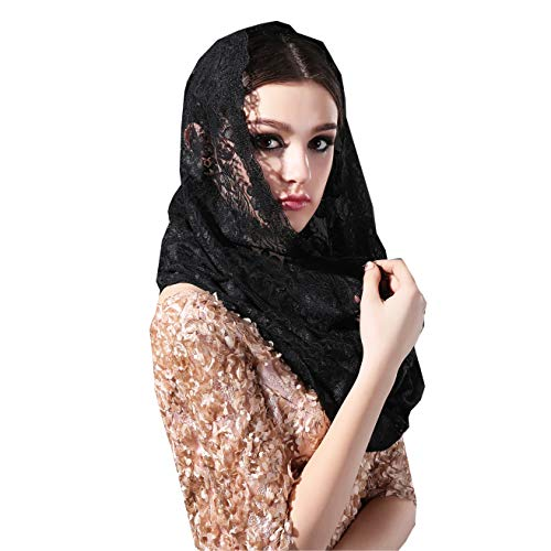 Infinity Veils Lace Scarf Veil Head Covering Latin Mass Mantilla Veil with Free Hairclip (Black)