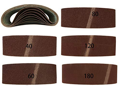 Bandas de lija para lijadora de banda (20 unidades, tejido mixto, 75 x 457 mm, 2 de 40, 60, 80, 120 y 180