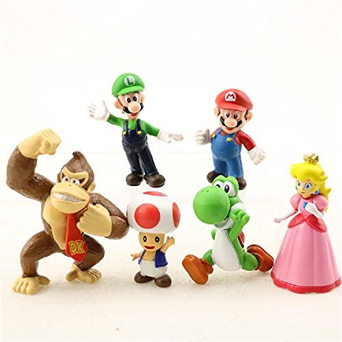 Super Mario Toys – Set of 6 Mario Figures with Luigi,Toad,Donkey Kong and Yoshi – Mario Action...