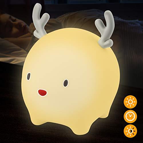 LED Nachtlicht Kinder Kitz mit Touch Schalter, FEALING Tragbare Silikon Nachtlichter LED Schlummerleuchte Mehrere Farbmöglichkeiten, für Babyzimmer, Schlafzimmer, Wohnräume, Camping, Picknick