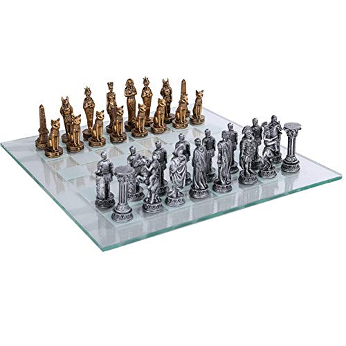 Pacific Trading Egyptian vs Roman Chess Set with Glass Board New