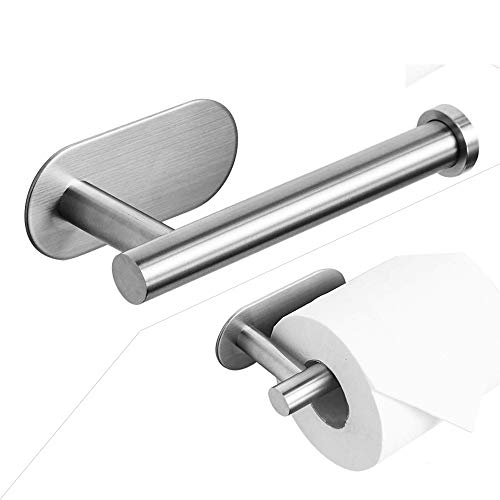 Soporte autoadhesivo para papel higiénico, portarrollos de pared de acero inoxidable Beeway para baño o cocina, resistente al agua, no necesita pegamento ni taladro