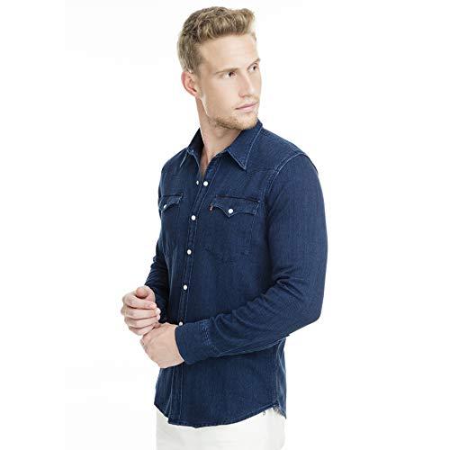 Levi's Barstow Western Camisa Casual de Manga Larga, Azul (Indigo Flannel Mid T2 H2 19 0322), Large para Hombre