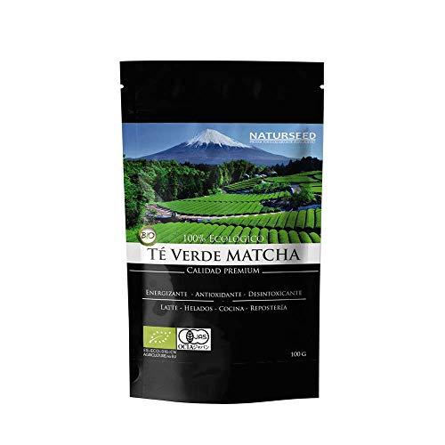 Naturseed Te Matcha Organico Premium en Polvo, 100gr, Bio Ecologico Japones, Para Beber, Latte, Cocinar, Postres, Reposteria, Helado, Galletas, Antioxidante, Adelgazar, Sabor Dulce,Gratis Recetas
