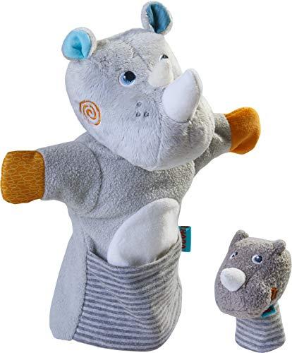 HABA 305755 - Handpuppe Nashorn mit Baby, Handpuppe ab 1.5 Jahren
