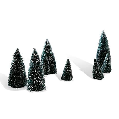 Loberon Dekobäume 8er Set Peyton, Weihnachtsdeko, Flachsfasern, Eisen, dunkelgrün