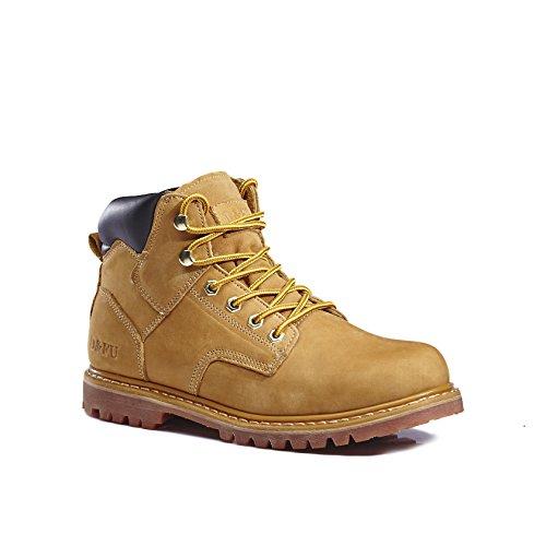 kingshow Men's 1406 Premium Full-Grain Leather Plain Rubber Sole Soft Toe Work Boots (11 D(M) US Men's, 1389wheat)