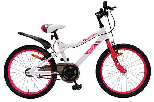 Amigo Rockstar - Mountain bike per ragazza, 20 pollici, adatta a partire da 120 cm, con freno a mano e supporto per bicicletta, colore: Bianco