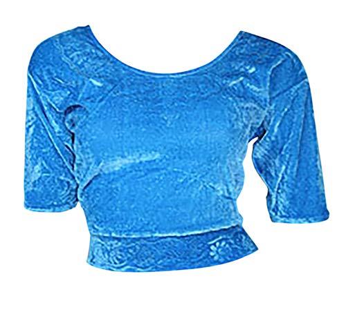 Trendofindia Hellblau Choli (Sari Oberteil) Samt Gr. 38/40 Gr. M ideal für Bauchtanz