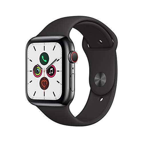Apple Watch Series 5 (GPS + Cellular, 44 mm)  Acero Inoxidable en Negro Espacial - Correa Deportiva Negro