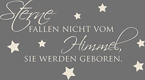 GRAZDesign 730024_30_816 Wandtattoo Wandspruch Sterne Fallen Nicht vom Himmel Babyzimmer Ideen (54x30cm//816 Antique White)