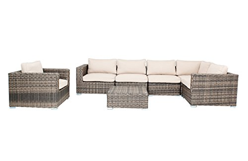 husen Distressed Outdoor Wicker Sectional Sofa Chair Coffee Table Patio Furniture