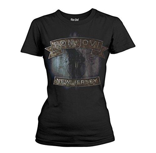 Bon Jovi T-Shirt New Jersey Femme Noir