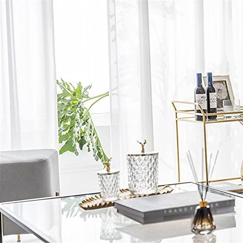 FACWAWF Estilo Simple Y Fresco Cortina Blanca Gasa Anti-Mosquitos Anti-Ultravioleta Sala De Estar Dormitorio Balcón Ventana De Bahía Hotel Acabado Cortina 2xW250xH270cm