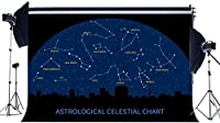 HD Galaxy Constellation Backdrop 7X5FT Vinyl Astrological Celestial Chart Backdrops Twinkle Starry Night City Silhouette Photography Background for Student School Party Photo Studio Prop HL28