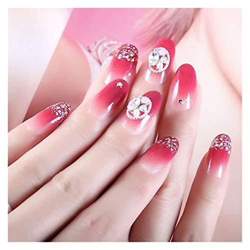 JUN-STORE Senmiao-Nail 24pcs / Gouache de Caja de gradiente de pulsación en el Parche de uñas parpadeando en Polvo Remiendo de Clavo de circundo removible Fake Fingerna con Pegamento para niñas
