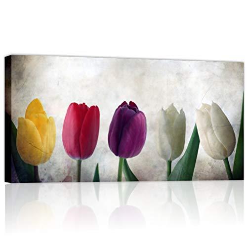 Quadri L&C ITALIA Tulipani Vintage - Quadro Moderno Fiori per Soggiorno Camera da Letto Cucina 90 x 45 Stampa su Tela Canvas da Parete Shabby Chic