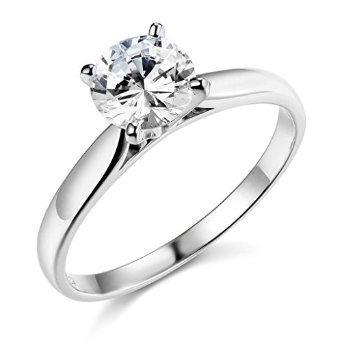 The World Jewelry Center .925 Sterling Silver Rhodium Plated Wedding Engagement Ring - Size 7.5