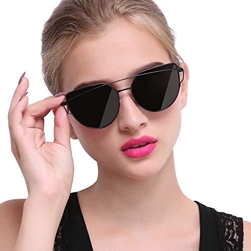 Joopin Gafas de Sol Polarizadas para Mujer Ojo de Gato de Moda Vintage Cateye de Gran Tamaño Negro